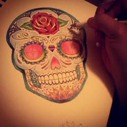 Sugar Skull Tattoo Design by SIREN757