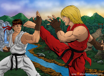 Ryu Ken Coloured by Cartoonpants