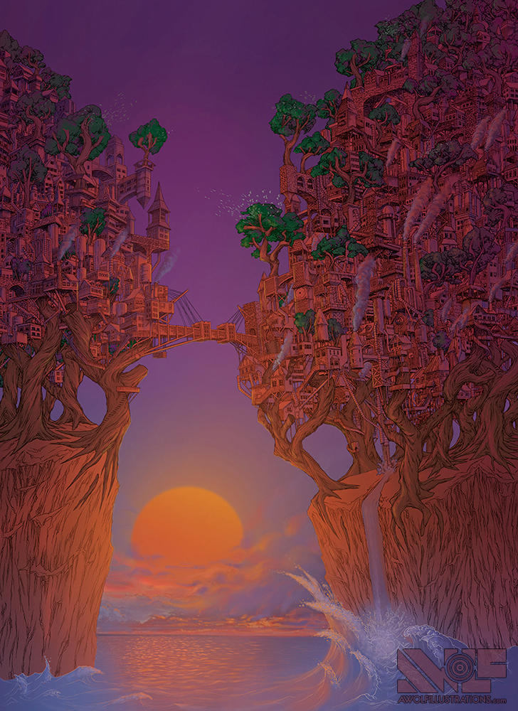A Delicate Balance: The Treehouse by awolfillustrations