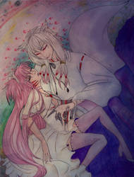 Human Kyubey and Goddess Madoka colored pencil ver by Hikachu