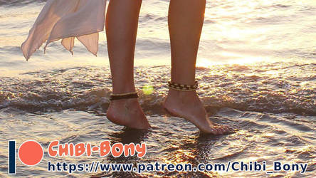 Patreon-Tipeee Ad - Barefoot in the sea by Chibi-Bony