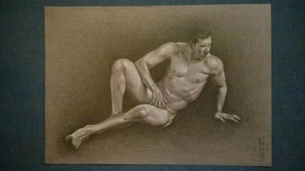 Nude male reclining by laukaiyang
