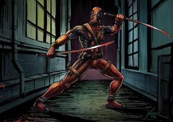Deadpool in an alley by chrisxavier