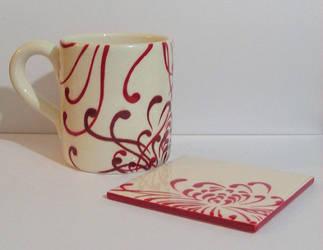 Red flower mug and coaster by OriginalBunny
