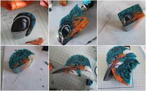 W.I.P  king fisher polymer clay cane by OriginalBunny