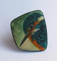 King fisher polymer clay pin by OriginalBunny