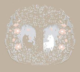 Unicorn in the forest by AnitramYnnej