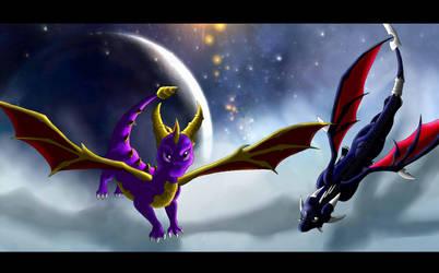 .:Spyro and Cynder:. by Kryptangel