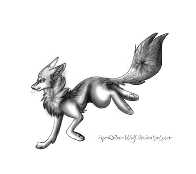 Running Fox Lineart by AprilSilverWolf