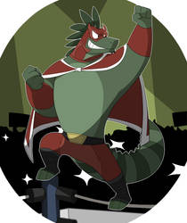 Maximo the Iguana luchador by GlassesGator