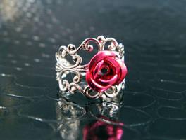 Dark Pink filigree ring 2 by AngelElementsEtsy