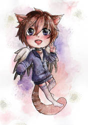 Watercolor chibi commission by Nama-e