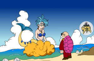 Mermaid Flounder and Master Roshi - Colored by NetSenshi