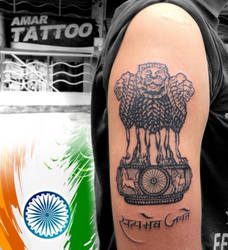 Ashoka Stambh tattoo national emblem of India tat by AMARTATTOO