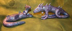 Metallic Dragon Pair 1 by leopardwolf