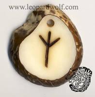Algiz Rune Tagua by leopardwolf