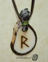 Raido Rune Tagua Pendant 1 For Loba by leopardwolf