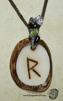Raido Rune Tagua Pendant 2 For Loba by leopardwolf