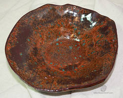 Shimmering Copper And Turquoise Splash Bowl by leopardwolf