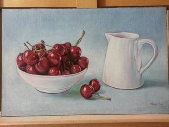 cherry still life by Hongmin