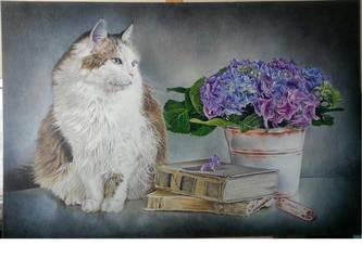 Cat and hydrangeas still life by Hongmin
