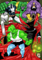 Savage Dragon, Spawn, Die Hard, The Maxx, Maul by violencejack666