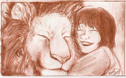 Lucy and Aslan by NatAsplund