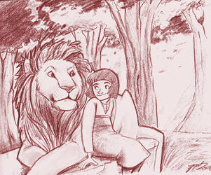 Aslan Teaches Lucy by NatAsplund