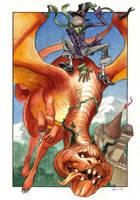 Pumpkin Dragon and Dapper Scarecrow by DanielGovar