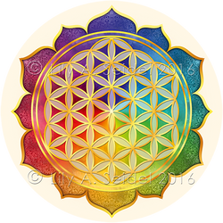 Flower of Life Lotus Sticker for Mobiles by Lilyas