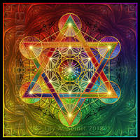Rainbow Metatron's Cube PRINT by Lilyas