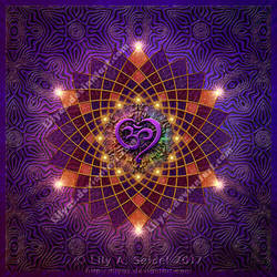 Om Heart Mandala by Lilyas