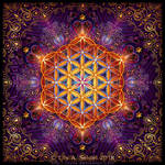 Golden Lace Mandala with Flower of Life by Lilyas