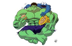 Hulk vs Cookie Monster - Commission by RickCelis