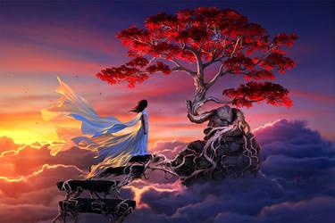The Sakura in the sky by arcipello