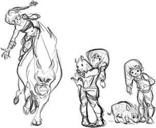 Wild Boar Hunter Sketches by HarpyMarx
