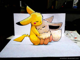 Pikachu and Eevee !!! (3D Drawing) by Ankredible