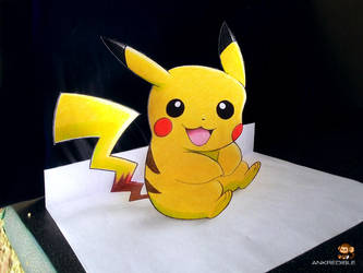Say 'Hi' to my little Pikachu (3D Drawing) by Ankredible