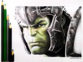 Ragnarok Hulk - Color Pencil Drawing by Ankredible