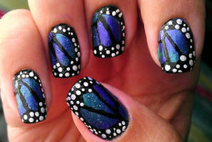 Butterfly Wings Nail Art by wolfgirl4716