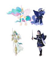 Princess Celestia and Prince Artemis Concept Art by M-Hydra