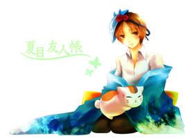 Natsume and Nyanko sensei by mirror-bluemoon