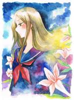 Natsume Yuujinchou - Natsume Reiko [watercolor by mirror-bluemoon