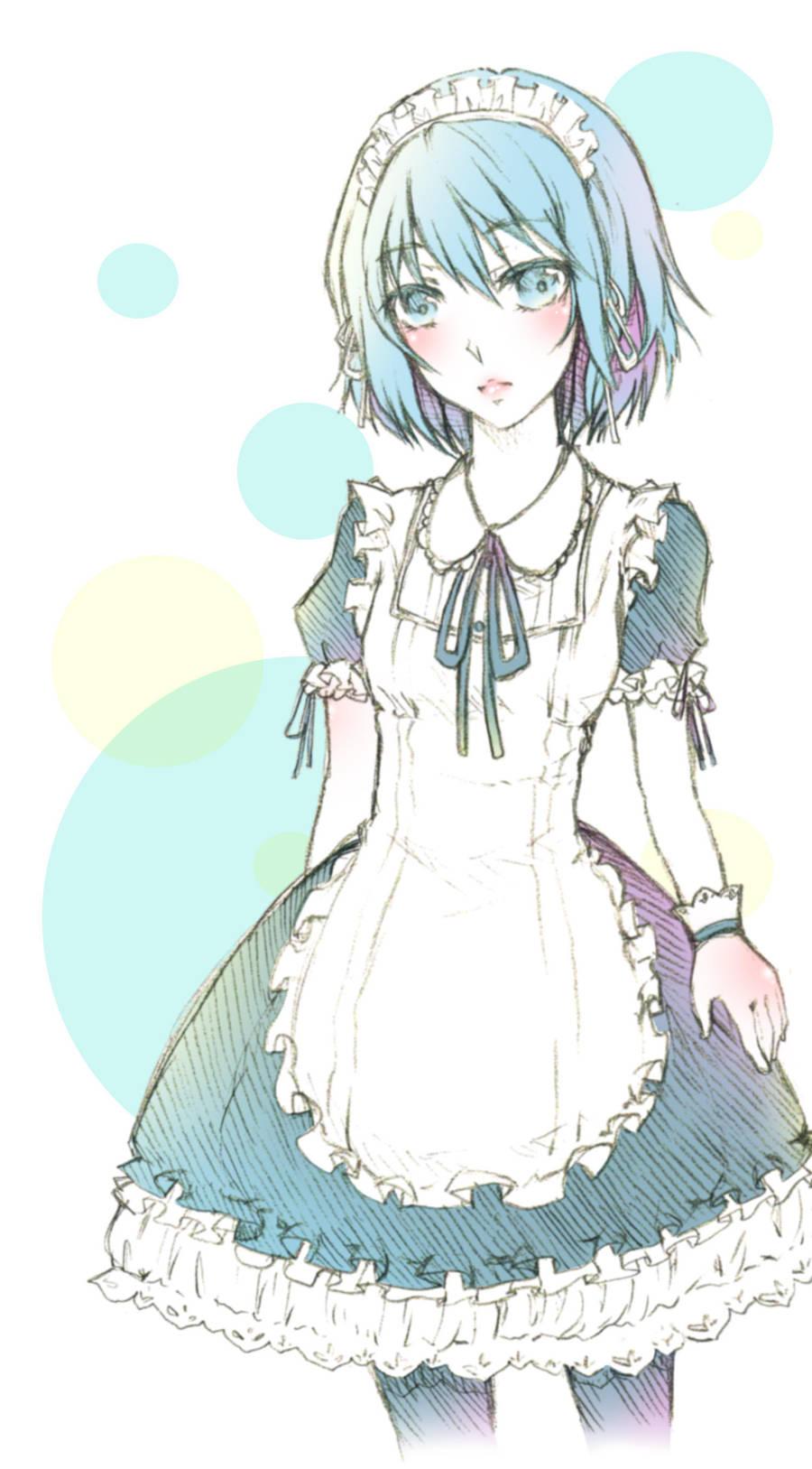 Kuroko no Basket - Maid Kuroko by mirror-bluemoon