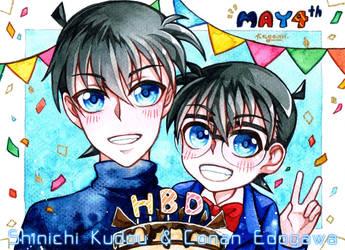 DCMK - HBD Shinichi and Conan by mirror-bluemoon