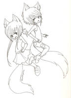 Lineart. Fox Twins. by MarshmallowCream