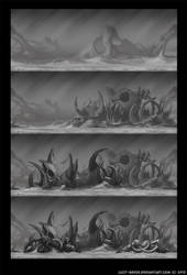 Fish bones on the seabed by lazy-brush