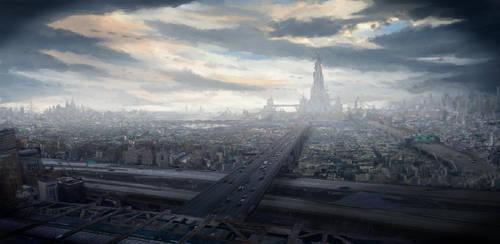 Sci-fi city by HeavenlyDeamonic