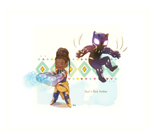 Shuri and Black Panther by peyoberry