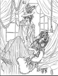 Victorian Vampire lineart by petal-elf